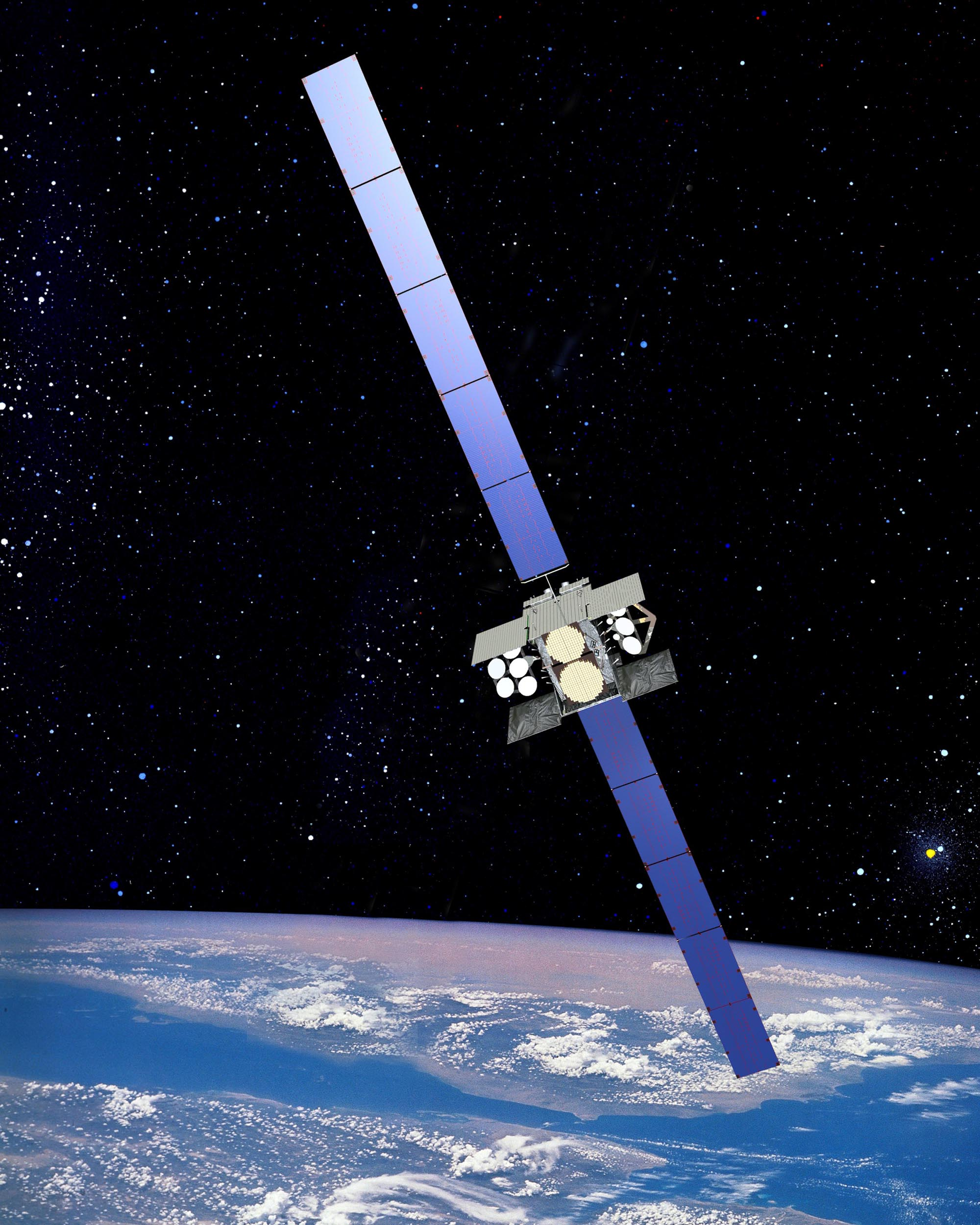 A computer rendering of the ninth Wideband Global Satellite Communication (WGS-9) satellite in orbit. IMAGE: Boeing