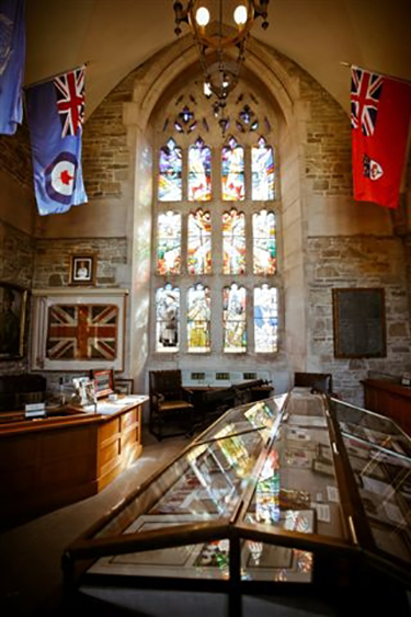 The Memorial Room in Soldiers' Tower at the University of Toronto, Ontario, commemorates alumni who give their lives in service of their country, and includes a carved stone plaque for Lieutenant Annis. PHOTO: David Pike/University of Toronto Alumni Relations