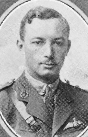 A black and white photograph of a young man wearing a First World War Royal Flying Corps uniform.