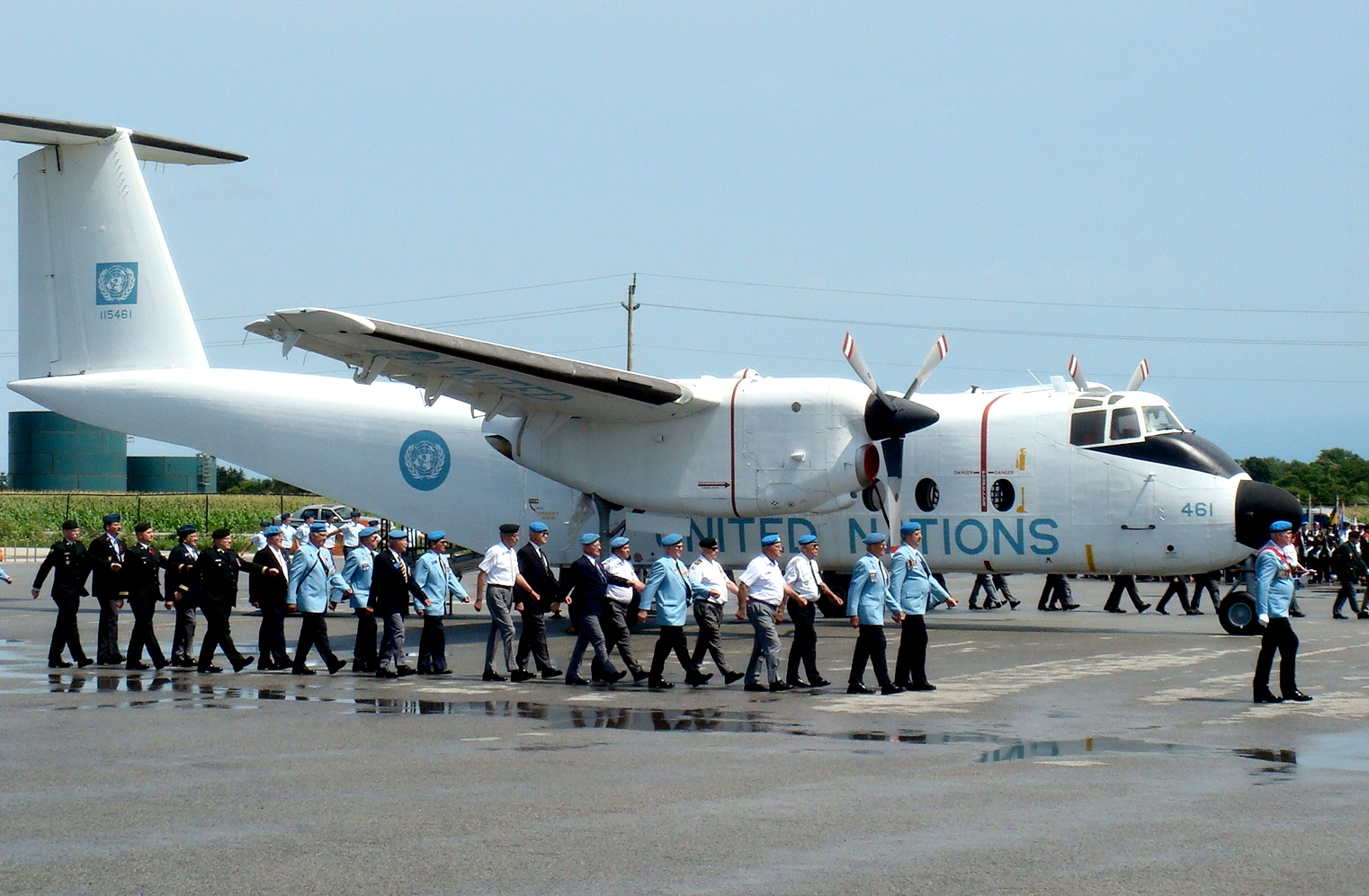Members of the Canadian Association of Veterans in United Nations Peacekeeping parade during a dedication ceremony of a Buffalo aircraft restored in U.N. livery. The ceremony was held at the Canadian Warplane Heritage Museum in Hamilton, Ontario, on August 9, 2009. PHOTO: Submitted
