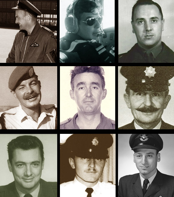 A black and white composite image of the faces of nine men in military uniforms