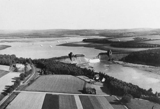 The Mohne Dam after the attack. PHOTO: © U.K. National Archives, AIR20-4367