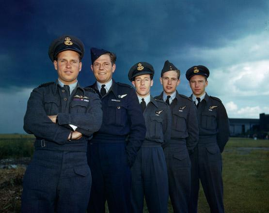 "The members of a Lancaster crew for the Dambusters raid (from left): Wing Commander Guy Gibson, RAF, pilot; Pilot Officer Frederick Spafford, RAAF,  Flight Lieutenant Robert Hutchinson, RAF, wireless operator, Flight Sergeant Andrew Deering, RAF, front gunner; and Pilot Officer Harlo ""Terry"" Taerum, RCAF, navigator. PHOTO: © RAF Air Historical Branch"