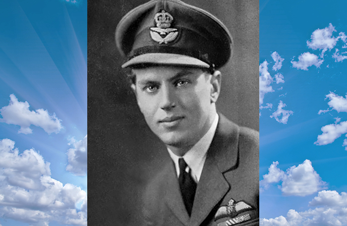slide - A black-and-white photograph of a young man wearing an air force uniform and staring intently at the camera, superimposed on a colour photograph of a blue sky with light clouds.
